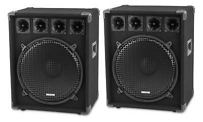 "Paar 15"" (38cm) DJ PA Lautsprecher Club Bass Subwoofer Party Box Set 1600 Watt"