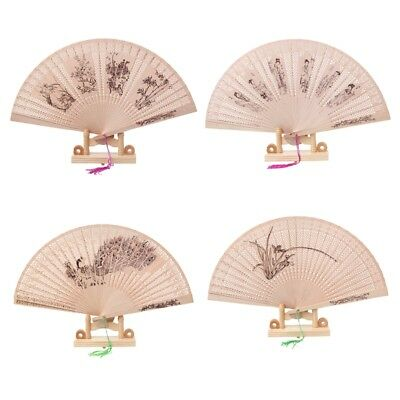 Chinese Oriental Folding Sandalwood Hollow Carved Hand Fan Plum Blossom Orchid