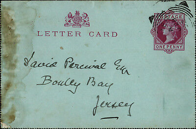 Victorian Letter-card posted to David Percival Esq., Bouley Bay, Jersey, 1892