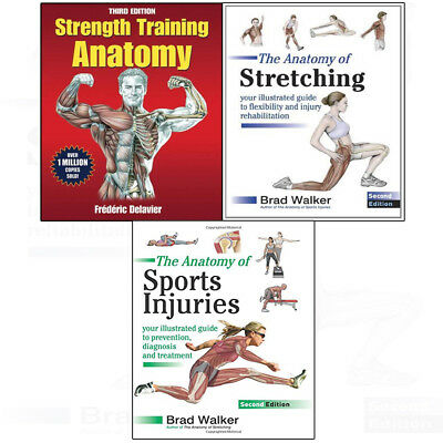 Strength Training Anatomy, Stretching,Sports Injuries 3 books collection set NEW
