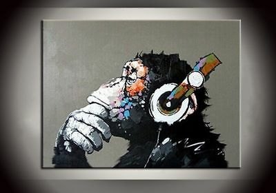 CHOP738 hand painted animal abstract monkey &music oil painting wall art canvas