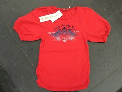 NWT Juicy Couture New & Genuine Girls Age 8 Red Cotton T-Shirt With Juicy Logo