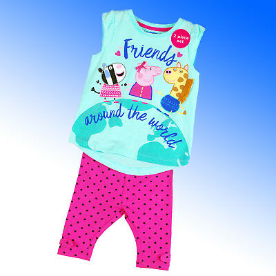 Girls NEW Peppa Pig Top and Leggings Set T-Shirt Summer Size 1 2 3 4 5 Years
