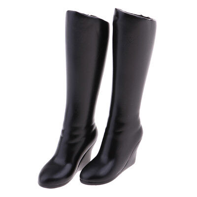 1/6 Scale Female's Black Mid-calf Knee Boots for 12'' Phicen Kumik Hot Toy