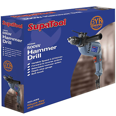 SupaTool 500w Variable Speed Hammer Drill Adjustable Torque by SupaTool HD500