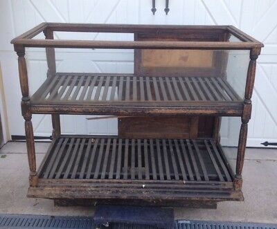 Antique Oak Country Store Display Cabinet Bakery Cigars Jewelry Toys