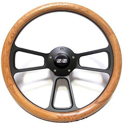 "1969-1973 Chevrolet Chevelle Genuine Oak Steering Wheel, ""SS"" Horn + Adapter Kit"