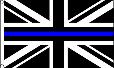 British Police Thin Blue Line Union Jack 5'x3' Flag