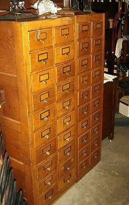 Antique Quarter-Sawn Oak Double Globe Wernicke File Cabinet w/ 40 drawers 7769