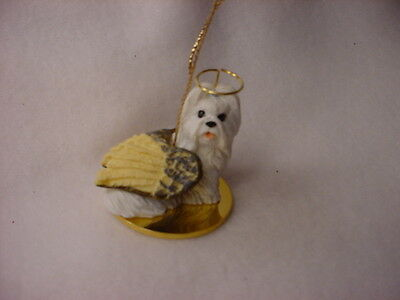 SHIH TZU White Dog ANGEL Ornament HAND PAINTED Resin FIGURINE Christmas puppy