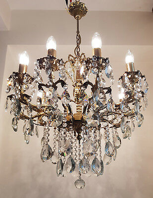 Antique 10 arms 10 lights Cast Brass & Crystals Cherub Chandelier from 1950's