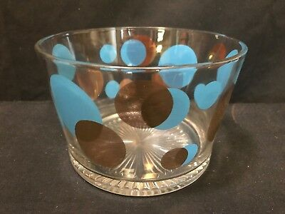 """Russel Wright Blue & Gold Eclipse Polka Dots Ice Bowl Bucket ~ 6 1/2"""" x 4 1/4"""""""