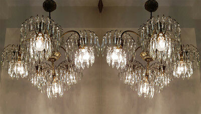 A Pair of Antique Brass & Crystals GIANT Chandeliers from 1950's RARE !!!