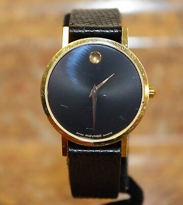 de1f8b647 *Movado 87-45-882 Gold Tone Museum Dial Thin Black Leather Band Quartz