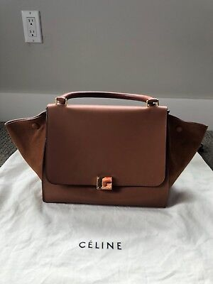 Auth Celine Trapeze Brown Leather suede Shoulder Top Handle Bag. Pre Owned fafd0a5226335