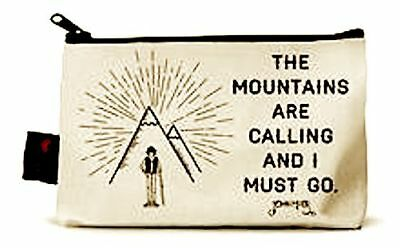 New The Mountains Are Calling Pencil Pouch Makeup Case Made in USA Natrl. Cotton