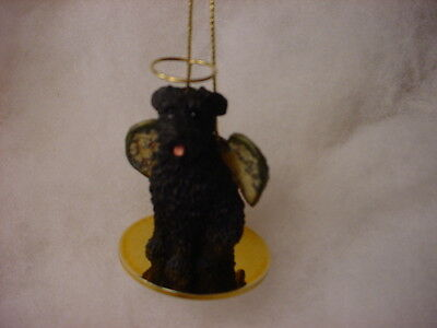 BOUVIER DES FLANDRES Dog ANGEL Ornament HAND PAINTED Resin FIGURINE Christmas