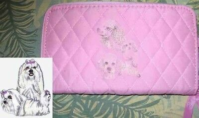 Belvah Quilted Fabric MALTESE Dog Breed Zip Around Pink Ladies Wallet