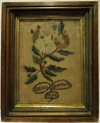 Small Early 19Th Century Spray Of Roses Sampler By Eliza Brown - 1836