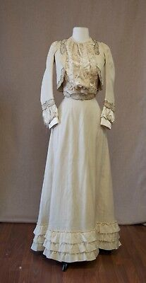 Antique Beige Off White Cream Pale Yellow Textured Skirt and Jacket set ruffles