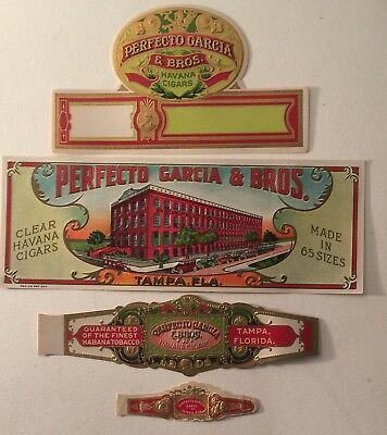 PERFECTO GARCIA Strip cigar box label 4pc Set from YBOR CITY TAMPA  FLORIDA