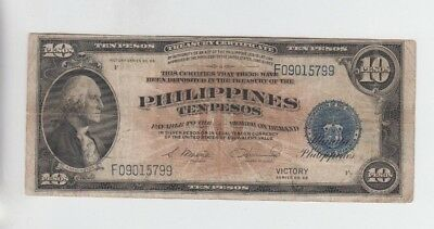 Philippines Paper money one old note  10 peso Victory note fine