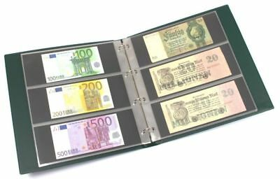 Banknote Album in Large Format with 20 Three-pocket Pages for 120 Banknotes gree