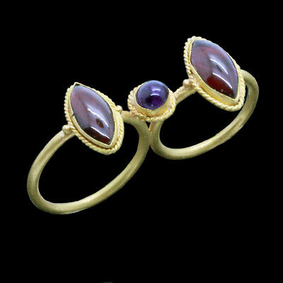 Antique Double Ring Greek Hellenic Garnets Amethyst 20k Gold Ancient (6030)