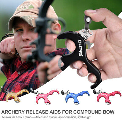NEW Archery Release Aids 3 Finger Grip Thumb  Compound Bow Thumb Caliper Trigger
