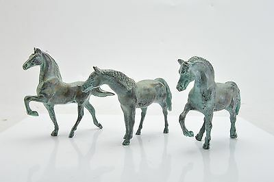 Vintage Group of Three Bronze Horses Beautiful Patina!