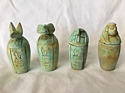 """Egyptian Canopic Jars Set Resin Pale Green Antique Look 3"""" Four Sons Of Horus"""