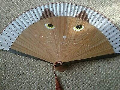 Hand Painted, Cat Face Fan, Chinese Silk, Soft Brown, Summer, Wedding, Holiday