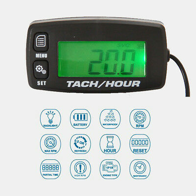 Backlight Digital Hour Meter Tachometer Gauge For Motorcycle Mower Gas Engine