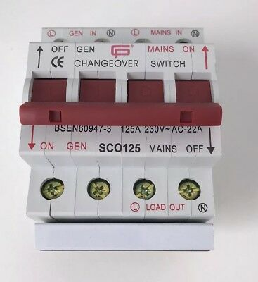 125A Changeover Switch Mains /Standby Generator 1P+N 1,2 Position Din Rail Mount