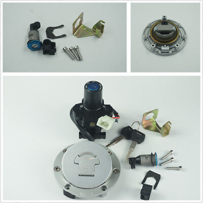 Motorcycle 4 Line Plug Ignition Switch Fuel Gas Cap Cover Tank Lock Set w/2 Keys