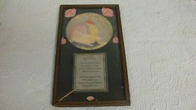 Vintage Art Deco Mothers Day Verse with Baby Print with Phrase W Original Frame