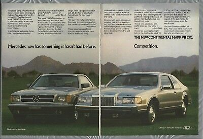 1984 LINCOLN CONTINENTAL 2-page advertisement, Mark VII Ford ad, with Mercedes