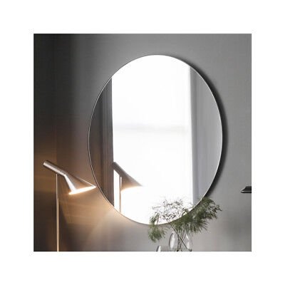 "Hayle Large Round Black Metal Frame Sleek Contemporary Wall Mirror 39.5"" / 100cm"