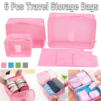 6PCS Luggage Organiser Suitcase Clothes Storage Bags Packing Travel Cubes Pouch