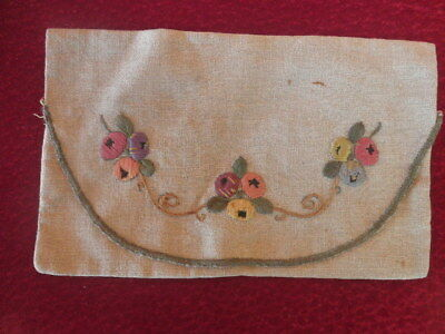 ANTIQUE  Napkin Pockets  EMBROIDED