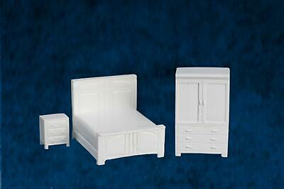 Dolls House 1/4 inch White Bedroom Furniture Set Suite Miniature 1:48 Scale