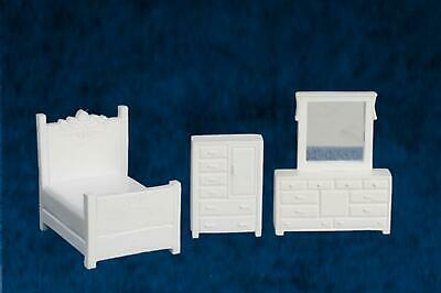 Dolls House 1/4 Inch Double Bedroom Furniture Set Suite Miniature 1:48 Scale