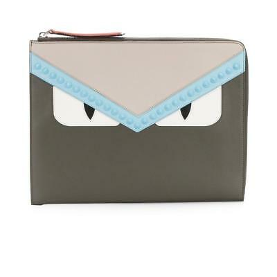 01953742e6 Fendi Monster Bugs Eyes Studded Calfskin Leather Flat Clutch Pouch Carbon  Bag