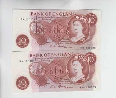 Great Britain paper money 2 consecutive 10 shilling notes choice uncirculated