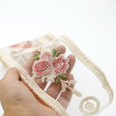 Wedding Tulle Flower Embroidered Lace Ribbon Trim Sewing Applique Craft 2 Yards