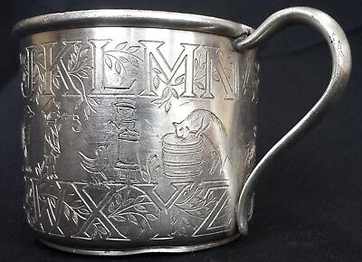 Antique Vintage Silver Plate Child's Alphabet Cup Forbes S.P. Co. Cats, Dogs etc