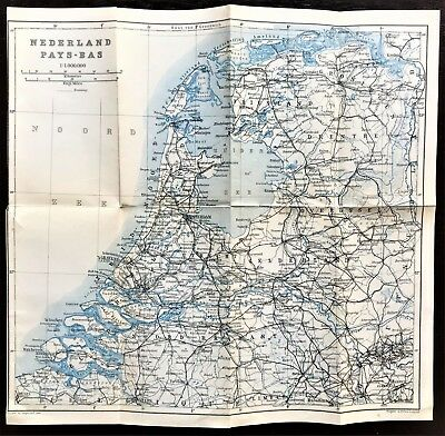 1910 ANTIQUE COLOR MAP of THE NETHERLANDS HOLLAND - LARGE - 100% AUTHENTIC