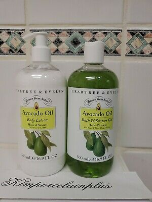 Crabtree & Evelyn AVOCADO OIL Body Lotion & Shower Gel SET 16.9 Fl OZ