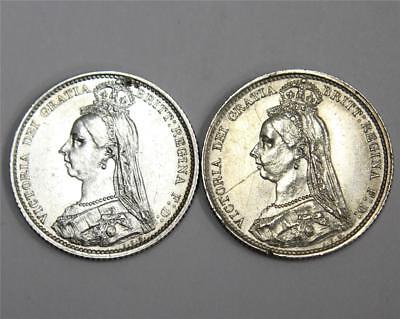 2x 1887 6 pence Great Britain EF both coins are cleaned and have damage