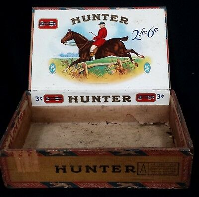 Antique Vintage Hunter Wood Cigar Box Factory No. 110 Florida